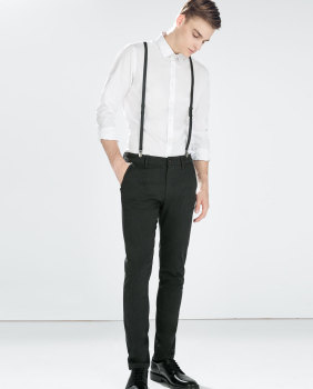 含背带剪裁装饰长裤